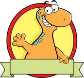 Dinossauro do brontosaurus dos desenhos animados com um sinal da bandeira Fotografia de Stock