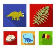 Dinossauro do mar, triceratops, planta pré-histórica, crânio humano Dinossauro e ícones ajustados da coleção do período pré-histó ilustração royalty free