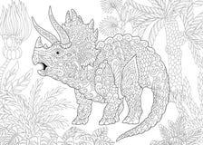 Dinossauro do triceratops de Zentangle ilustração stock