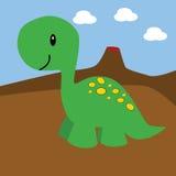 Dinossauro e vulcão dos desenhos animados Fotografia de Stock