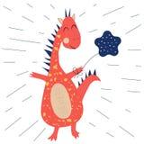 Dinossauro engraçado com balão ilustração royalty free