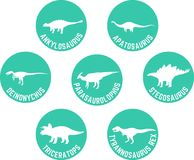 Dinossauro etiquetado ícone redondo água-marinha ajustada Foto de Stock