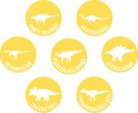 Dinossauro etiquetado ícone redondo amarelo ajustado Imagens de Stock Royalty Free