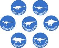 Dinossauro etiquetado ícone redondo azul ajustado Fotos de Stock Royalty Free
