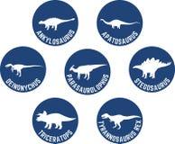 Dinossauro etiquetado ícone redondo azul profundo ajustado Imagens de Stock