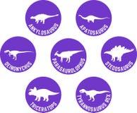 Dinossauro etiquetado ícone redondo roxo ajustado Fotografia de Stock Royalty Free