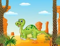Dinossauro feliz dos desenhos animados com fundo pré-histórico Foto de Stock