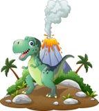 Dinossauro feliz dos desenhos animados no fundo pré-histórico ilustração stock