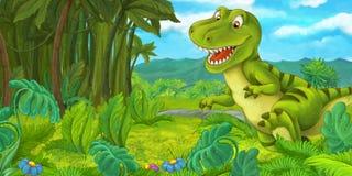 Dinossauro feliz e engraçado dos desenhos animados - tiranossauro ilustração stock