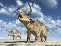 Dinossauro Nasutoceratops em uma paisagem ilustração do vetor