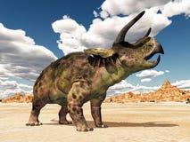Dinossauro Nasutoceratops no deserto ilustração stock