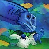 Dinossauro no habitat Ilustração de Apatosaur Fotos de Stock