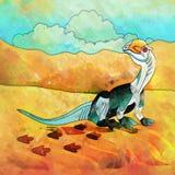 Dinossauro no habitat Ilustração de Dilophosaur Fotos de Stock