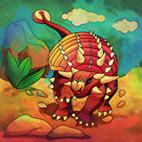 Dinossauro no habitat Ilustração de Euoplocephalus Foto de Stock Royalty Free
