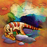 Dinossauro no habitat Ilustração de Heterodontosaur Fotos de Stock Royalty Free