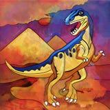 Dinossauro no habitat Ilustração de Staurikosaur Fotos de Stock Royalty Free