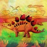 Dinossauro no habitat Ilustração de Stegosaur Fotografia de Stock Royalty Free