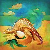 Dinossauro no habitat Ilustração do Ankylosaur Fotos de Stock Royalty Free