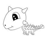 Dinossauro preto e branco bonito do Stegosaurus do bebê dos desenhos animados Foto de Stock