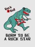 Dinossauro que joga a guitarra T gráfico projeto do vetor para a impressão do t-shirt ilustração royalty free