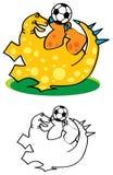 Dinossauro que joga o futebol ilustração royalty free