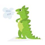 Dinossauro verde dos desenhos animados Ilustração lisa do vetor Caráter cômico de Dino, no fundo branco Imagem de Stock Royalty Free