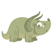 Dinossauro verde engraçado do triceratops dos desenhos animados Fotos de Stock