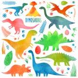 Dinossauros arial na aquarela ilustração stock