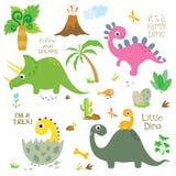 Dinossauros bonitos ajustados ilustração do vetor
