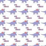Dinossauros bonitos com teste padrão sem emenda das coroas no fundo branco Textura de Dino do vetor para crianças Projeto para o  ilustração royalty free