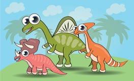 Dinossauros bonitos do estilo dos desenhos animados ajustados ilustração royalty free