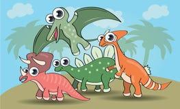 Dinossauros bonitos do estilo dos desenhos animados ajustados ilustração stock