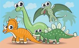 Dinossauros bonitos do estilo dos desenhos animados ajustados Fotos de Stock Royalty Free