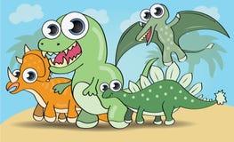 Dinossauros bonitos do estilo dos desenhos animados ajustados Imagem de Stock Royalty Free