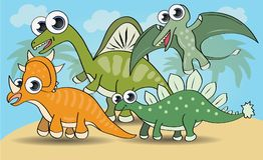 Dinossauros bonitos do estilo dos desenhos animados ajustados Fotografia de Stock Royalty Free