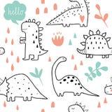 Dinossauros bonitos e plantas tropicas ilustração stock