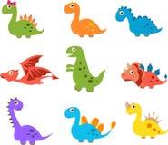 Dinossauros bonitos isolados no fundo branco ilustração royalty free
