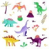 Dinossauros bonitos isolados no fundo branco Pegada do dinossauro, vulcão, palmeira, pedras Bebê Dino Collection ilustração stock