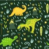 Dinossauros bonitos no fundo vegetal fresco Os dinossauros andam no prado com flores Gráficos de vetor para o projeto do c das cr ilustração stock