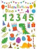 Dinossauros dos desenhos animados e elementos engraçados do projeto fotografia de stock royalty free