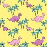 Dinossauros e palmeiras Imagem de Stock