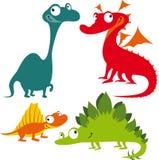 Dinossauros engraçados dos desenhos animados Imagens de Stock Royalty Free