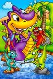 Dinossauros engraçados Fotografia de Stock