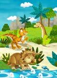 Dinossauros felizes dos desenhos animados Fotos de Stock Royalty Free