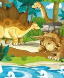Dinossauros felizes dos desenhos animados - vulcão do triceratops do stegosaurus do diplodocus Fotos de Stock