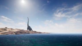 Dinossauros no período pré-histórico na paisagem da areia rendição 3d ilustração do vetor