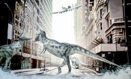 Dinossauros que lutam no centro da cidade ilustração stock