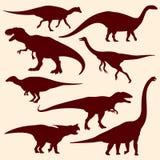 Dinossauros, silhuetas fósseis do vetor dos répteis ilustração stock
