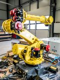 Dinslaken , Germany - September 19 2018 : Brand new industrial automation robot getting ready for production stock photography