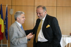 Dinu Patriciu and Adrian Severin Stock Photo